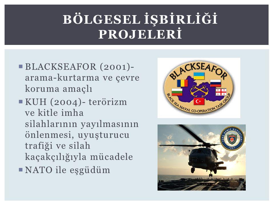  BLACKSEAFOR (2001)- arama-kurtarma ve çevre koruma amaçlı  KUH (2004)- terörizm ve kitle imha silahlarının yayılmasının önlenmesi, uyuşturucu trafi
