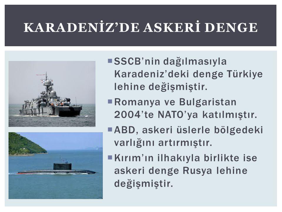 SSCB'nin dağılmasıyla Karadeniz'deki denge Türkiye lehine değişmiştir.  Romanya ve Bulgaristan 2004'te NATO'ya katılmıştır.  ABD, askeri üslerle b