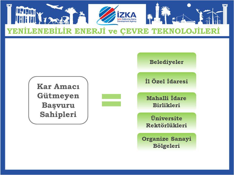 YENİLENEBİLİR ENERJİ ve ÇEVRE TEKNOLOJİLERİ İZKA tarafından 30 Aralık 2010 tarihinde ilan edilen Kırsalda Ekonomik Çeşitlilik ile Turizmde Rekabet Edebilirlik ve Yenilik Mali Destek Programları ya da 12 Eylül 2011 tarihinde ilan edilen Teknolojik Üretim ve Yenilik Mali Destek Programı kapsamında destek almış olan işletmeler, proje uygulama süresince ve sözleşmede belirtilen proje bitiş tarihinden itibaren 1 yıl boyunca İZKA'ya başvuramazlar.