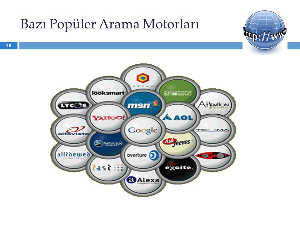 Bazı Popüler Arama Motorları 18