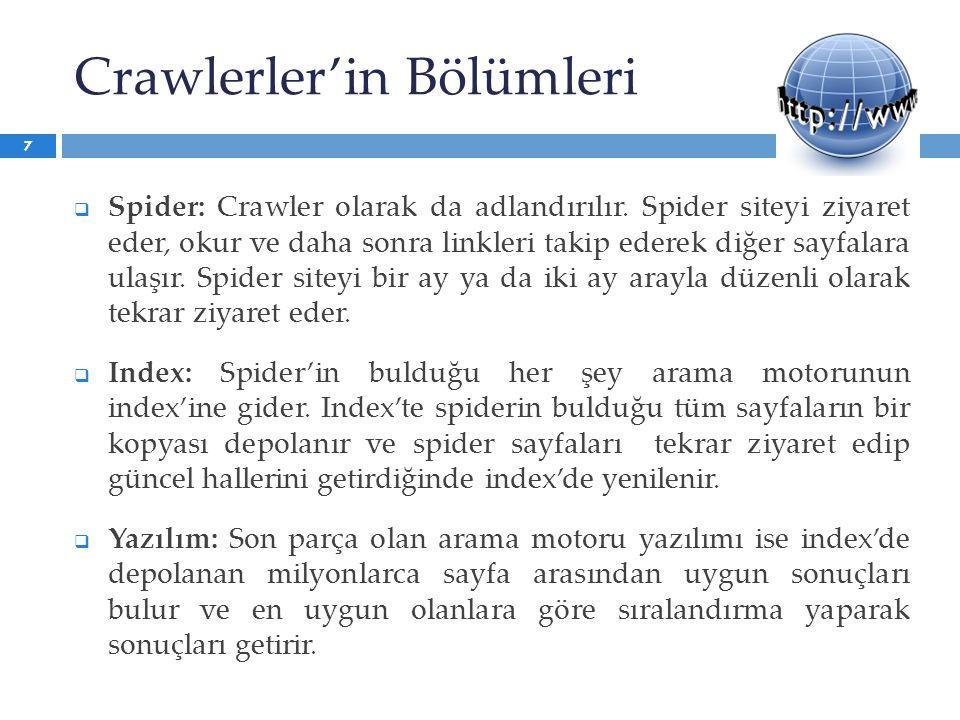 Crawlerler'in Bölümleri  Spider: Crawler olarak da adlandırılır. Spider siteyi ziyaret eder, okur ve daha sonra linkleri takip ederek diğer sayfalara