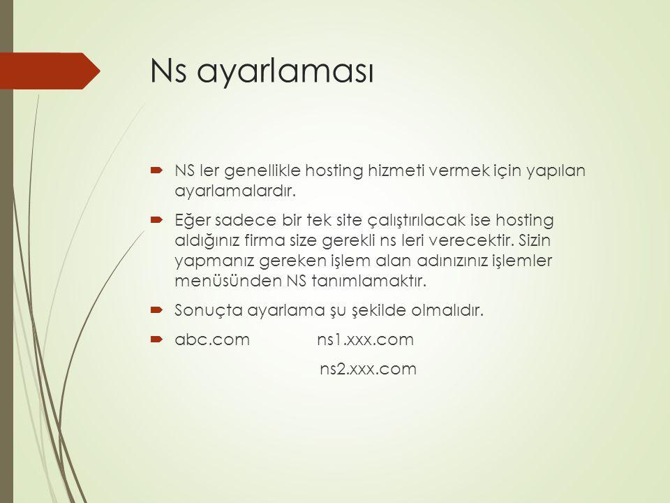 Ns ayarlaması  NS ler genellikle hosting hizmeti vermek için yapılan ayarlamalardır.  Eğer sadece bir tek site çalıştırılacak ise hosting aldığınız