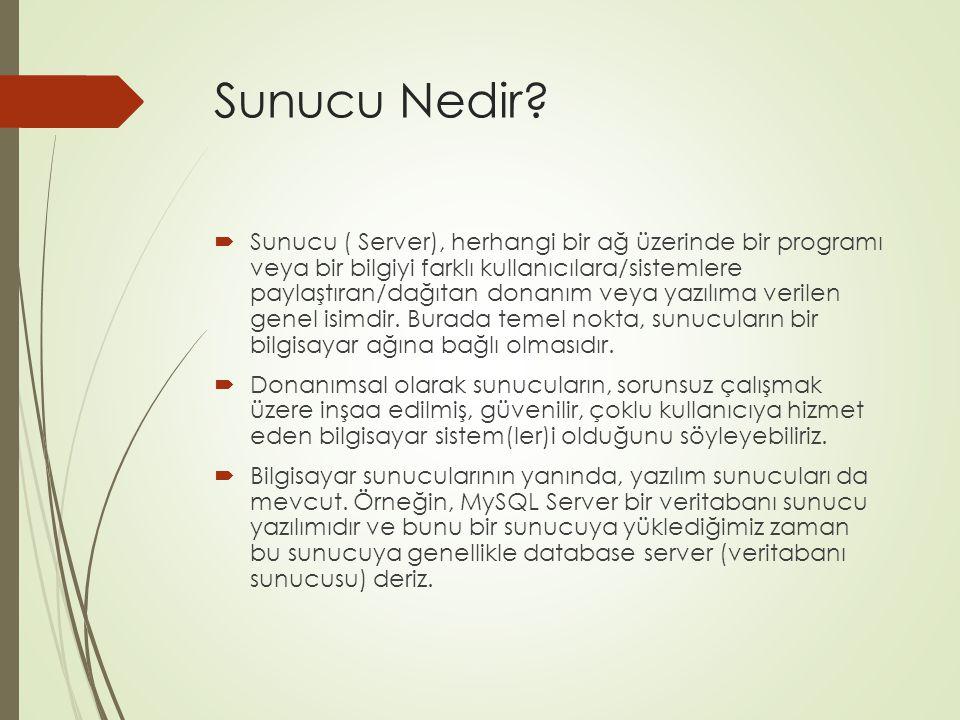 Sunucu Nedir?  Sunucu ( Server), herhangi bir ağ üzerinde bir programı veya bir bilgiyi farklı kullanıcılara/sistemlere paylaştıran/dağıtan donanım v