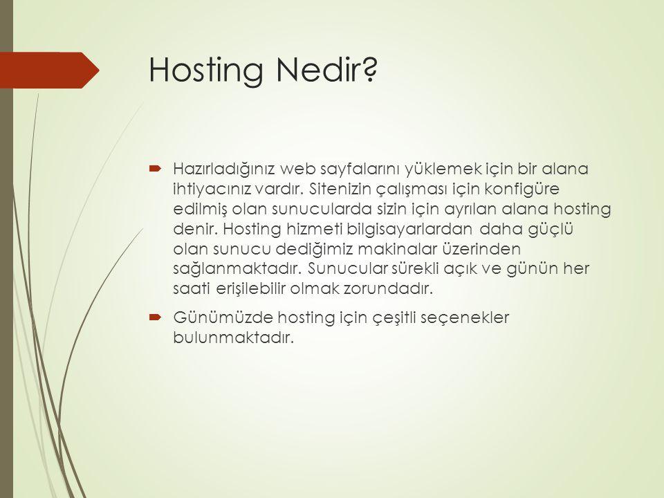 Hosting Nedir?  Hazırladığınız web sayfalarını yüklemek için bir alana ihtiyacınız vardır. Sitenizin çalışması için konfigüre edilmiş olan sunuculard