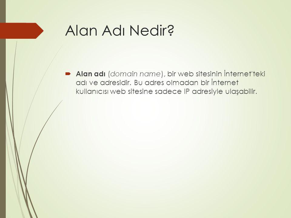 Alan Adı Nedir?  Alan adı (domain name), bir web sitesinin İnternet'teki adı ve adresidir. Bu adres olmadan bir İnternet kullanıcısı web sitesine sad