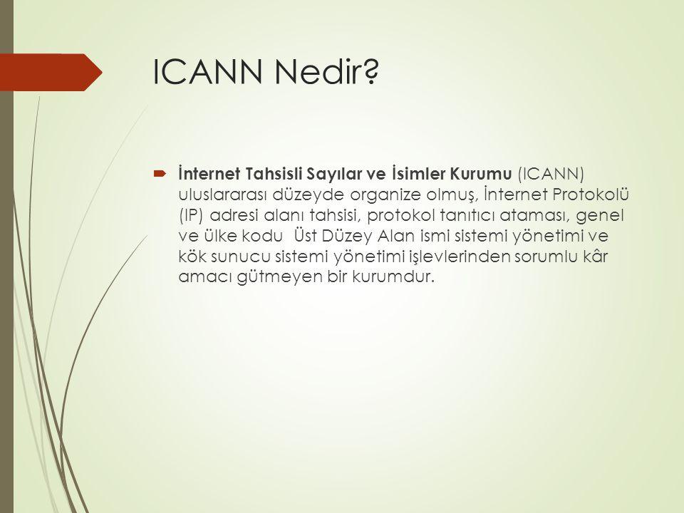 ICANN Nedir?  İnternet Tahsisli Sayılar ve İsimler Kurumu (ICANN) uluslararası düzeyde organize olmuş, İnternet Protokolü (IP) adresi alanı tahsisi,