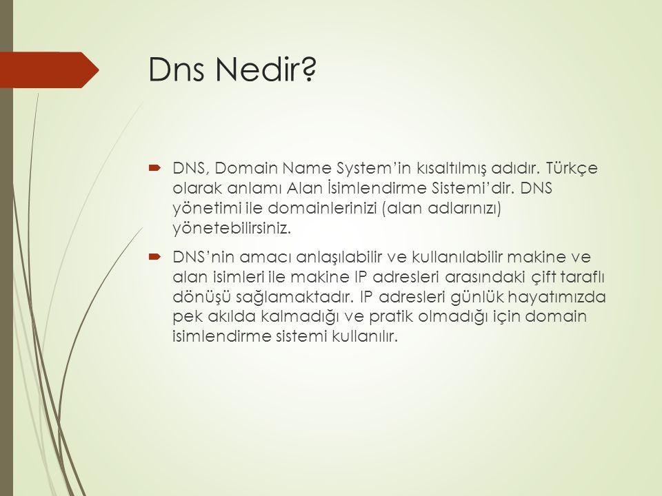 Dns Nedir?  DNS, Domain Name System'in kısaltılmış adıdır. Türkçe olarak anlamı Alan İsimlendirme Sistemi'dir. DNS yönetimi ile domainlerinizi (alan
