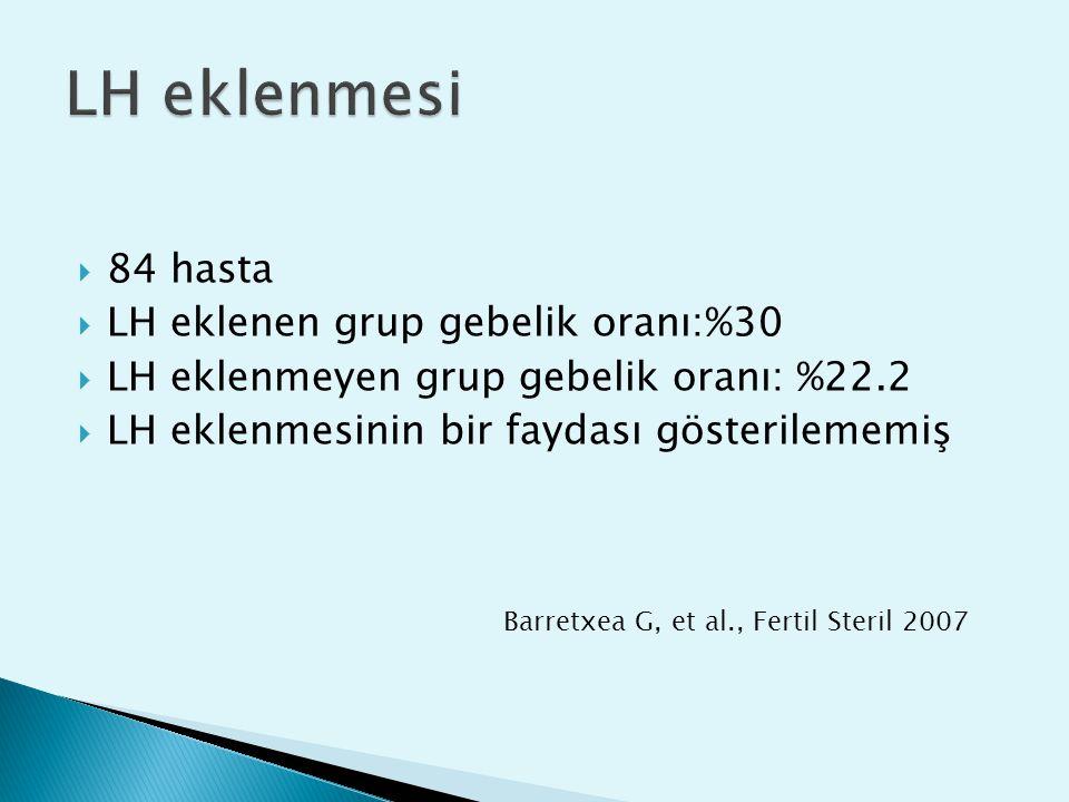  84 hasta  LH eklenen grup gebelik oranı:%30  LH eklenmeyen grup gebelik oranı: %22.2  LH eklenmesinin bir faydası gösterilememiş Barretxea G, et
