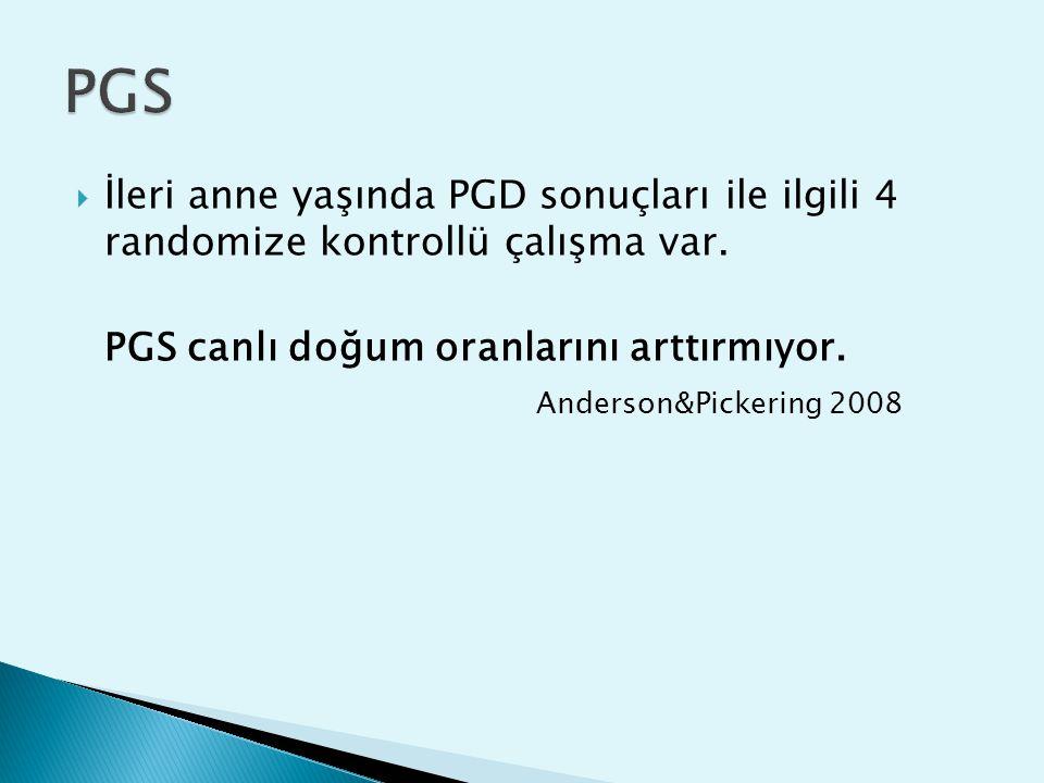  İleri anne yaşında PGD sonuçları ile ilgili 4 randomize kontrollü çalışma var.