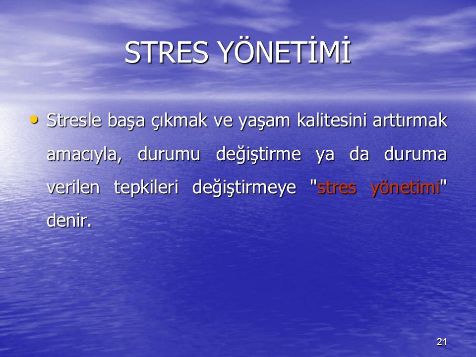 21 STRES YÖNETİMİ Stresle başa çıkmak ve yaşam kalitesini arttırmak amacıyla, durumu değiştirme ya da duruma verilen tepkileri değiştirmeye