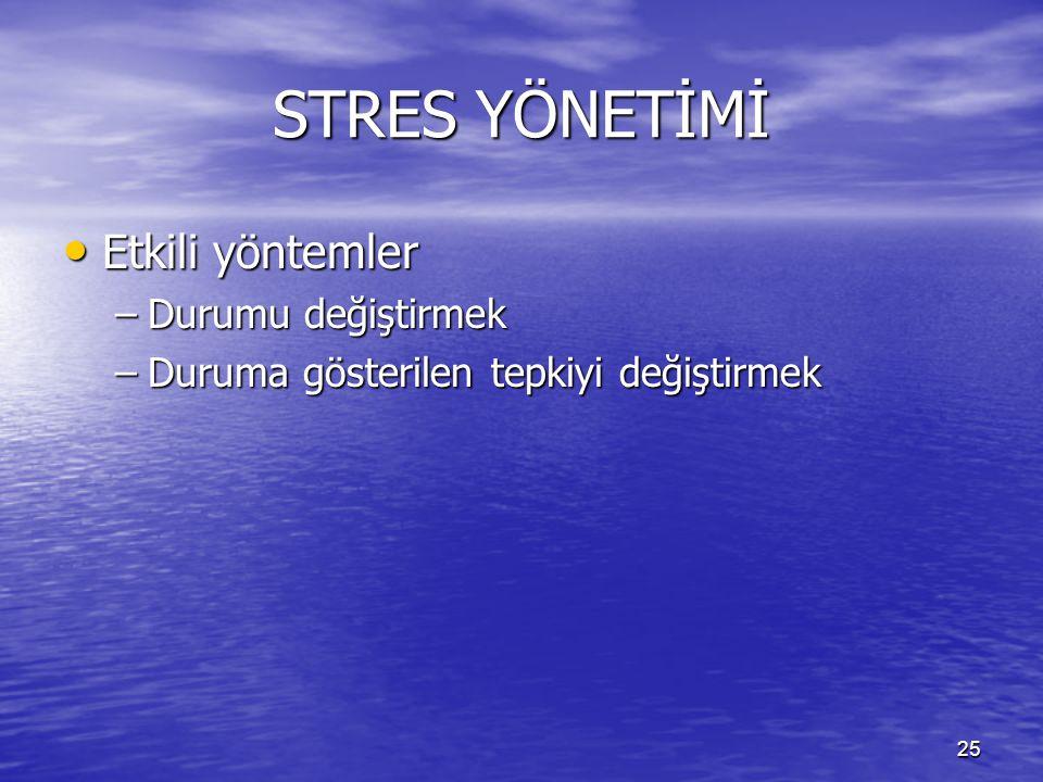 25 STRES YÖNETİMİ Etkili yöntemler Etkili yöntemler –Durumu değiştirmek –Duruma gösterilen tepkiyi değiştirmek