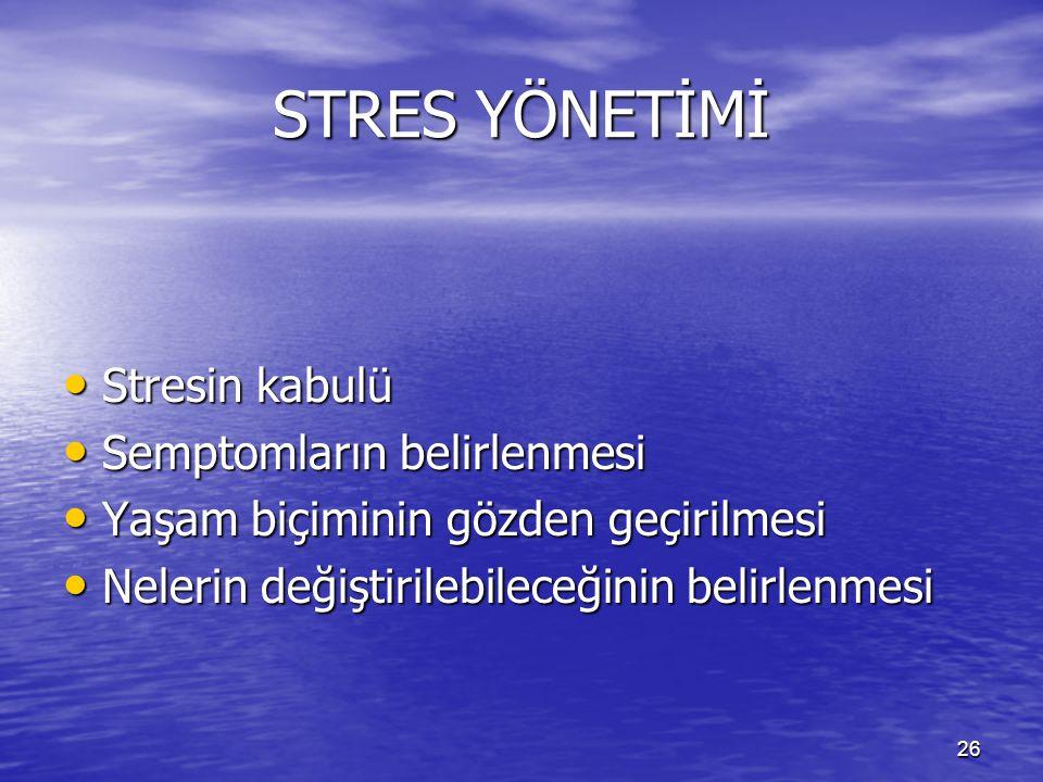 26 STRES YÖNETİMİ Stresin kabulü Stresin kabulü Semptomların belirlenmesi Semptomların belirlenmesi Yaşam biçiminin gözden geçirilmesi Yaşam biçiminin