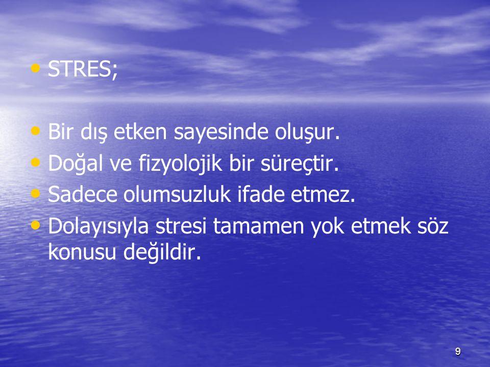 9 STRES; Bir dış etken sayesinde oluşur. Doğal ve fizyolojik bir süreçtir. Sadece olumsuzluk ifade etmez. Dolayısıyla stresi tamamen yok etmek söz kon