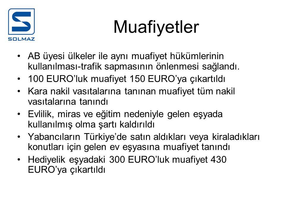 Muafiyetler AB üyesi ülkeler ile aynı muafiyet hükümlerinin kullanılması-trafik sapmasının önlenmesi sağlandı. 100 EURO'luk muafiyet 150 EURO'ya çıkar