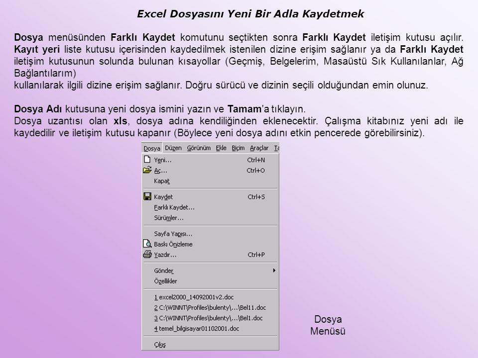 Excel Dosyasını Yeni Bir Adla Kaydetmek Dosya menüsünden Farklı Kaydet komutunu seçtikten sonra Farklı Kaydet iletişim kutusu açılır. Kayıt yeri liste