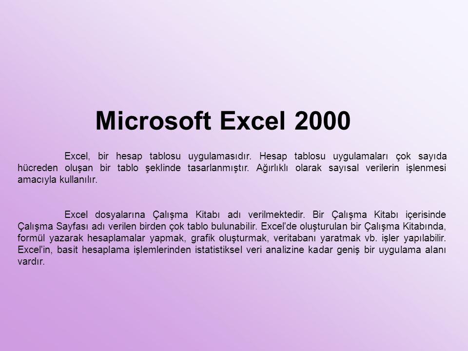 Microsoft Excel 2000 Excel, bir hesap tablosu uygulamasıdır. Hesap tablosu uygulamaları çok sayıda hücreden oluşan bir tablo şeklinde tasarlanmıştır.
