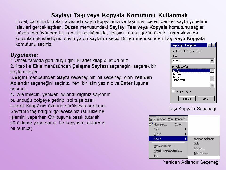 Sayfayı Taşı veya Kopyala Komutunu Kullanmak Excel, çalışma kitapları arasında sayfa kopyalama ve taşımayı içeren benzer sayfa-yönetimi işlevleri gerç