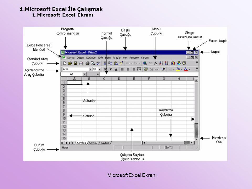 1.Microsoft Excel İle Çalışmak 1.Microsoft Excel Ekranı Microsoft Excel Ekranı