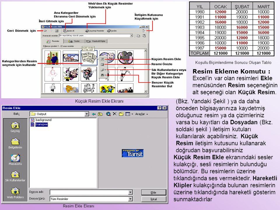 Koşullu Biçimlendirme Sonucu Oluşan Tablo Resim Ekleme Komutu : Excel'in var olan resimleri Ekle menüsünden Resim seçeneğinin alt seçeneği olan Küçük