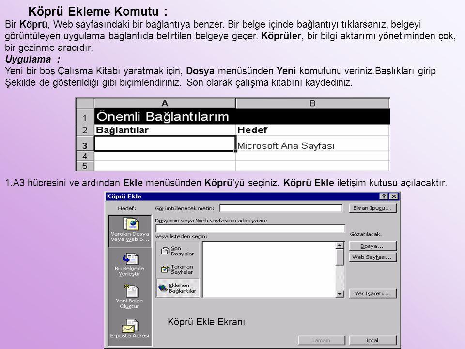 Köprü Ekleme Komutu : Bir Köprü, Web sayfasındaki bir bağlantıya benzer. Bir belge içinde bağlantıyı tıklarsanız, belgeyi görüntüleyen uygulama bağlan
