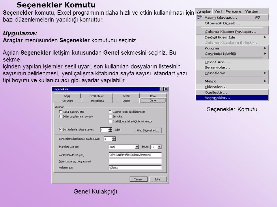 Seçenekler Komutu Seçenekler komutu, Excel programının daha hızlı ve etkin kullanılması için bazı düzenlemelerin yapıldığı komuttur. Uygulama: Araçlar