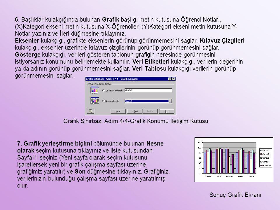 6. Başlıklar kulakçığında bulunan Grafik başlığı metin kutusuna Öğrenci Notları, (X)Kategori ekseni metin kutusuna X-Öğrenciler, (Y)Kategori ekseni me