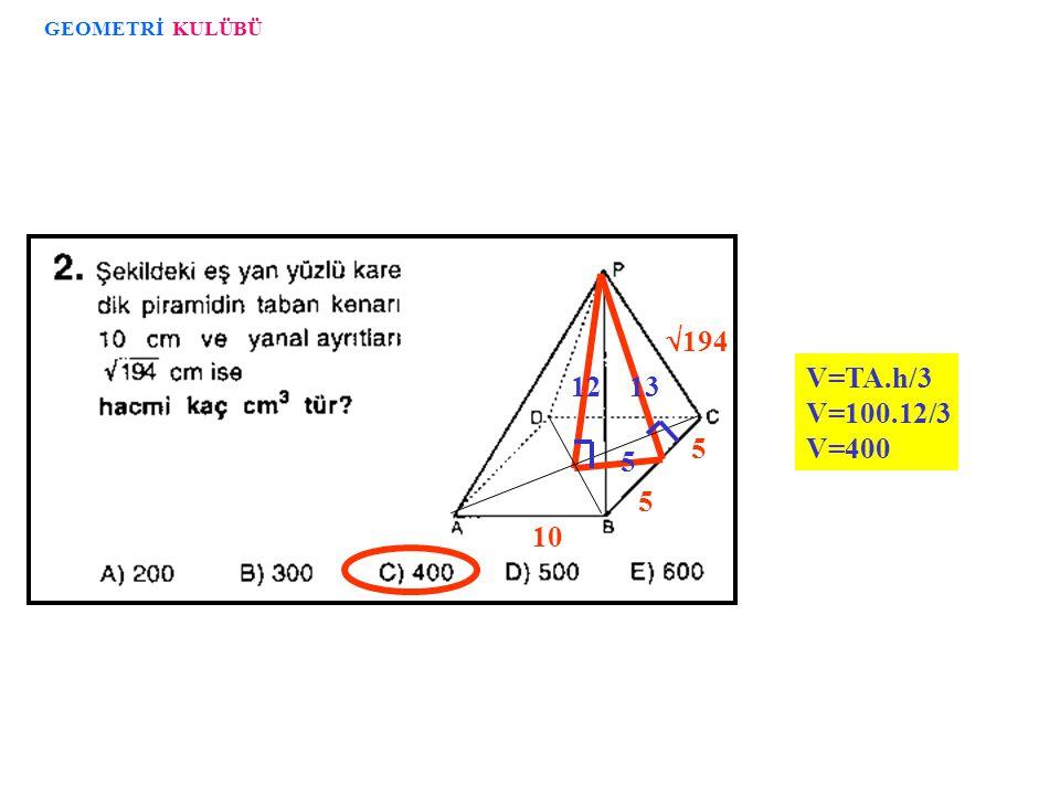 12 8 K H 6 6 6 10 TBC ikizkenar üçgeninin alanı =10.12/2 = 60 YA=4.A(TBC)=4.60=240 GEOMETRİ KULÜBÜ Bu testteki sorular FEM DERSANELERİ dokümanlarından