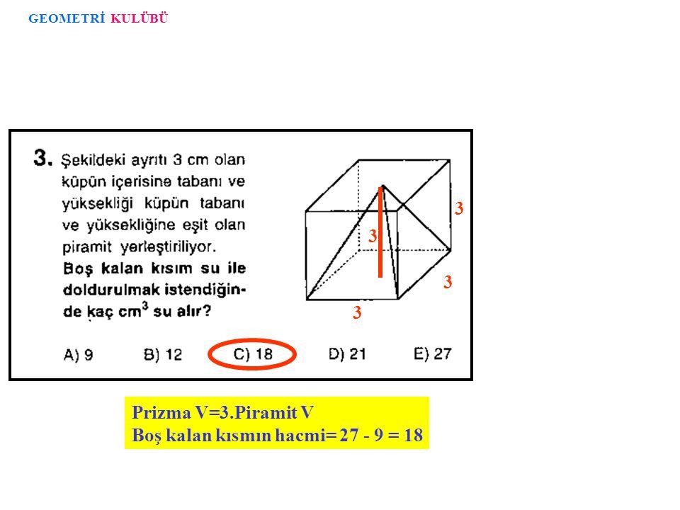 V=TA.h/3 V=100.12/3 V=400 10  194 5 5 5 1312 GEOMETRİ KULÜBÜ