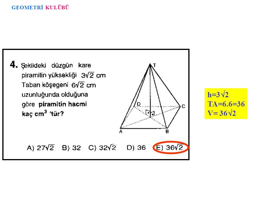 Prizma V=3.Piramit V Boş kalan kısmın hacmi= 27 - 9 = 18 3 3 3 3 GEOMETRİ KULÜBÜ