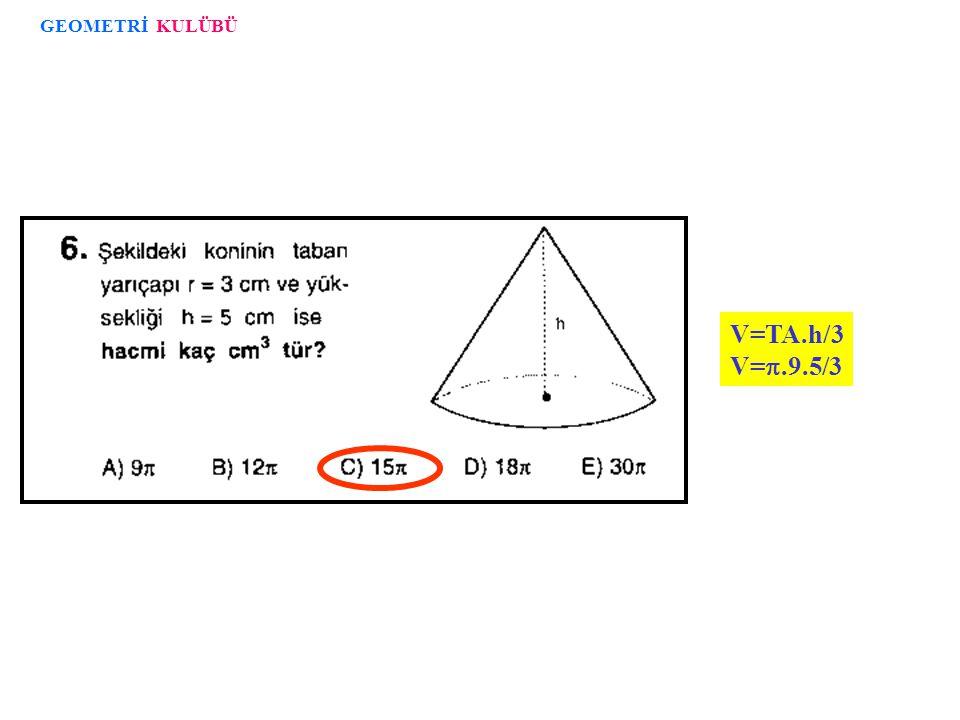 V=TA.h/3 V= .1.  3/3 33 2 1 GEOMETRİ KULÜBÜ