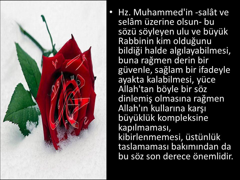 Hz. Muhammed'in -salât ve selâm üzerine olsun- bu sözü söyleyen ulu ve büyük Rabbinin kim olduğunu bildiği halde algılayabilmesi, buna rağmen derin bi