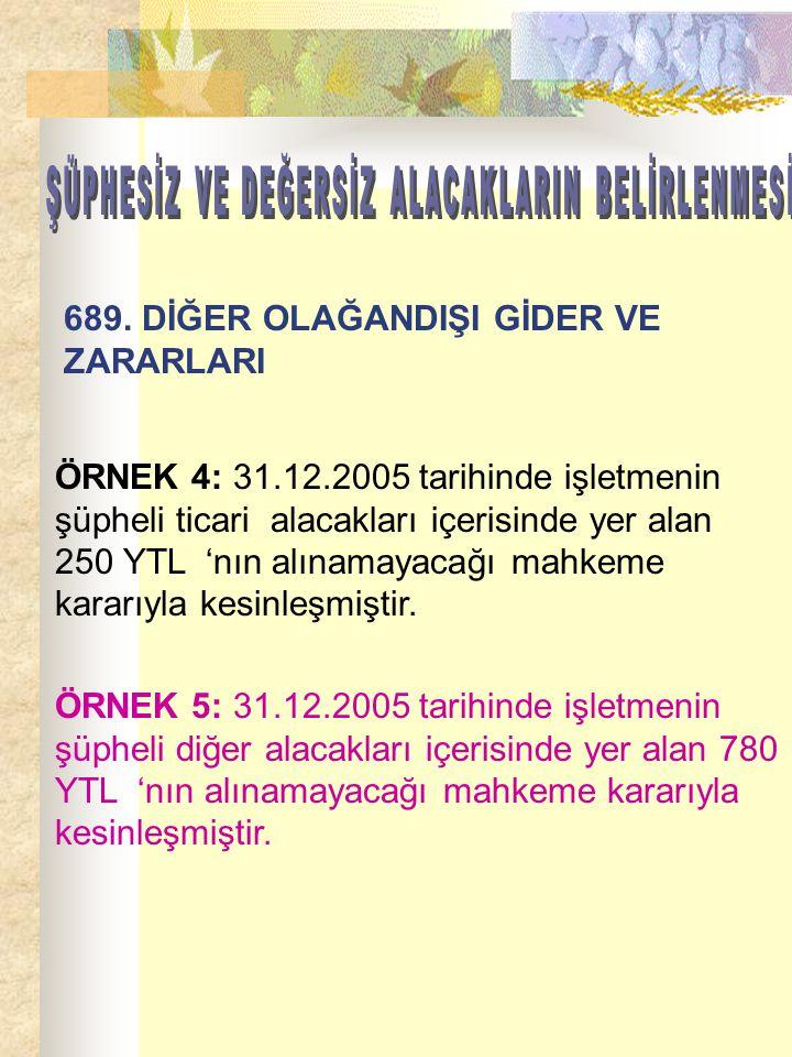 ÖRNEK 4: 31.12.2005 tarihinde işletmenin şüpheli ticari alacakları içerisinde yer alan 250 YTL 'nın alınamayacağı mahkeme kararıyla kesinleşmiştir. ÖR
