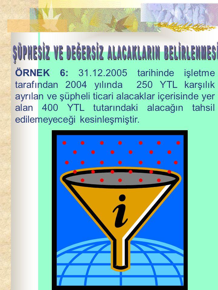 ÖRNEK 6: 31.12.2005 tarihinde işletme tarafından 2004 yılında 250 YTL karşılık ayrılan ve şüpheli ticari alacaklar içerisinde yer alan 400 YTL tutarın