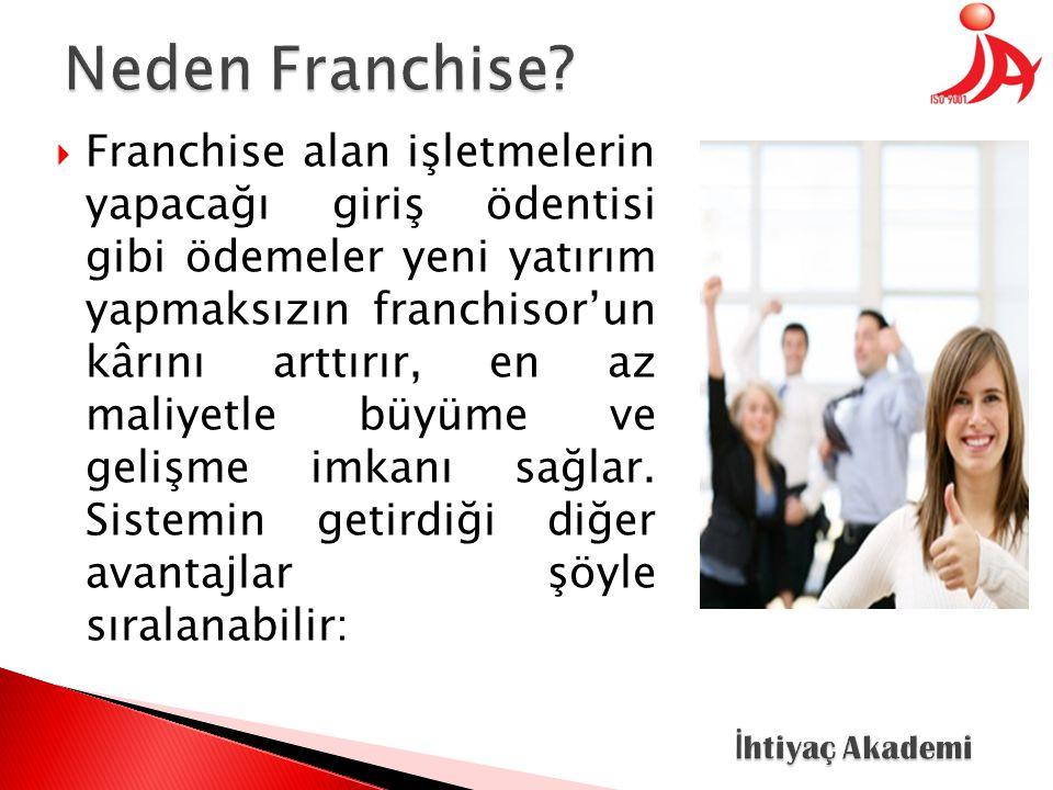  Franchise alan işletmelerin yapacağı giriş ödentisi gibi ödemeler yeni yatırım yapmaksızın franchisor'un kârını arttırır, en az maliyetle büyüme ve gelişme imkanı sağlar.