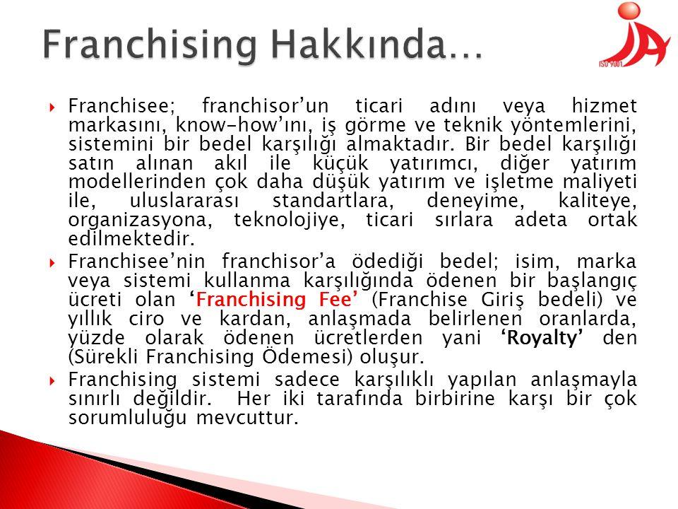  Franchisee; franchisor'un ticari adını veya hizmet markasını, know-how'ını, iş görme ve teknik yöntemlerini, sistemini bir bedel karşılığı almaktadır.
