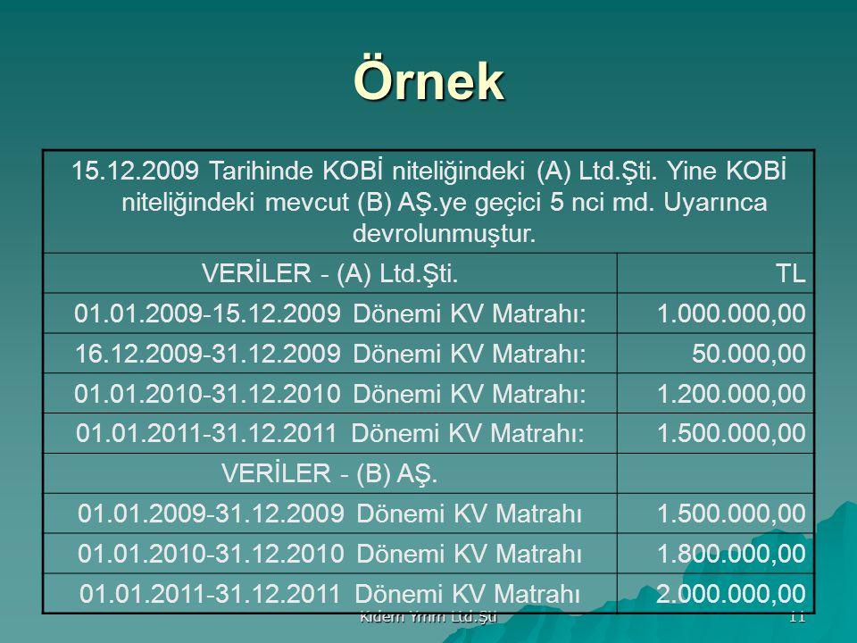 Kıdem Ymm Ltd.Şti 11 Örnek 15.12.2009 Tarihinde KOBİ niteliğindeki (A) Ltd.Şti.