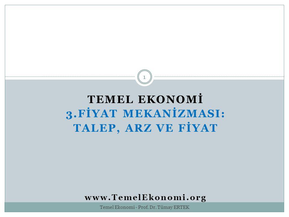 TEMEL EKONOMİ 3.FİYAT MEKANİZMASI: TALEP, ARZ VE FİYAT www.TemelEkonomi.org 1 Temel Ekonomi - Prof. Dr. Tümay ERTEK