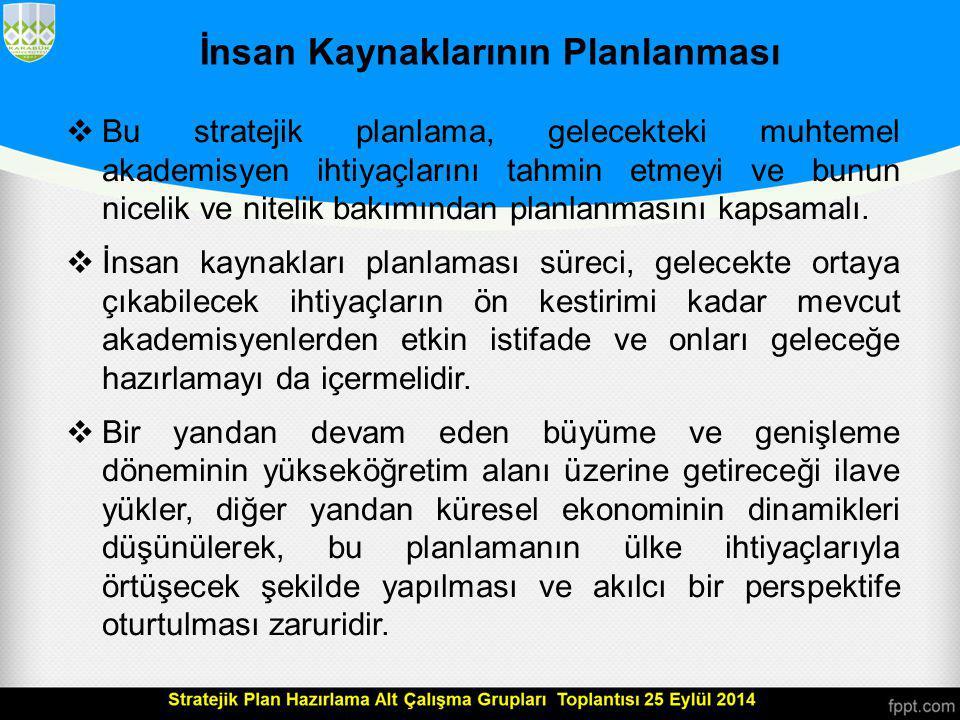 Nitelikli Araştırmacı ve Eğitimci İhtiyacı  Türkiye yükseköğretim sisteminin diğer OECD ülkelerine göre okullaşma oranlarını artırmada geç kaldığı ve mevcut büyüme hızının diğer ülkelerden çok yüksek olduğu dikkate alındığında,  Türkiye'de nitelikli öğretim elemanlarına ihtiyaç öncelikli bir konu olarak karşımıza çıkmaktadır.