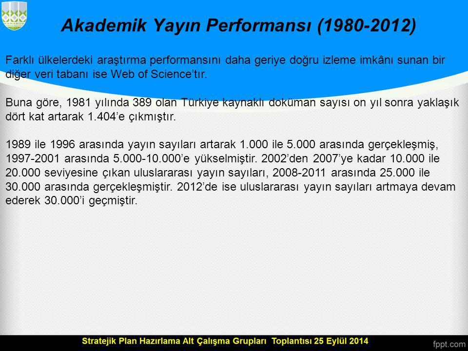 Akademik Yayın Performansı (1980-2012) Mevcut akademik insan kaynağının niteliğine ilişkin göstergelerden biri, akademik yayın performansıdır.