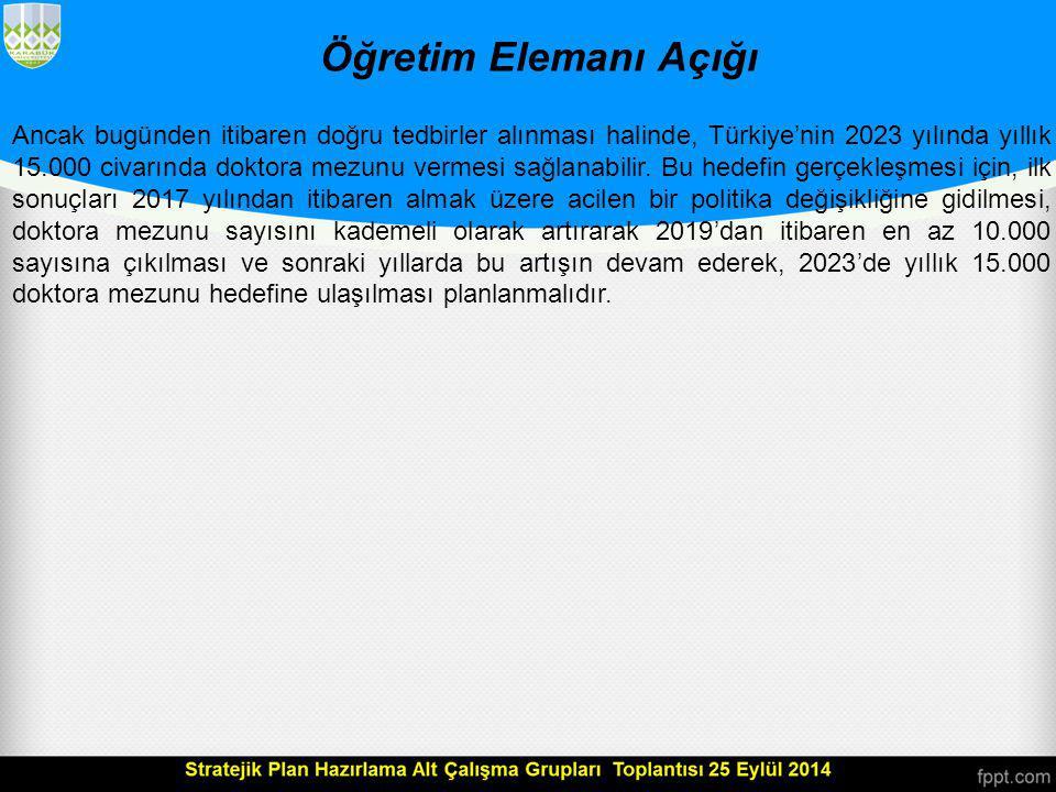 Öğretim Elemanı Açığı Buraya kadar sunulan verilerden anlaşılacağı üzere, Türkiye'nin yıllık doktora mezun sayısını artırmasına yönelik tedbirler alması gerekli görünmektedir.