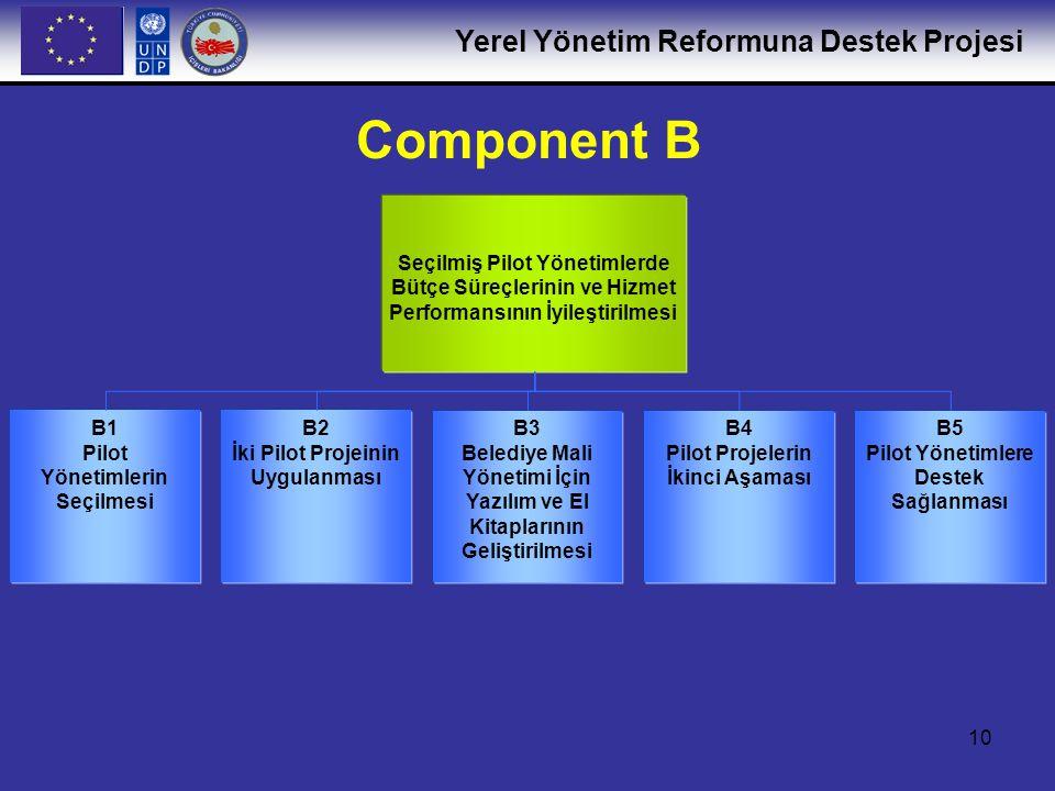 Yerel Yönetim Reformuna Destek Projesi 11 B.1: Pilot Yönetimlerin Seçilmesi Başvuru çağrılarının hazırlanması ve iletilmesi Program Yönlendirme Komitesi tarafından onaylanan ve kurumlar arası bir uzman çalışma grubu tarafından belirlenen seçim kritlerine göre 6 pilot belediyenin bağımsız bir uzman komitesi tarafından seçilmesi B.2: İki Pilot Projenin Uygulanması Yerel kamu hizmetlerinin gözden geçirilmesi ve değerlendirilmesi Hizmet İyileştirme Faaliyet Planlarının ayrıntılandırılması, kabul edilmesi ve uygulanması Temel faaliyetler ve ulaşılacak hedefler