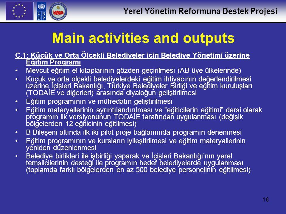 Yerel Yönetim Reformuna Destek Projesi 17 C.2: Belediye Mali Yönetimi Üzerine Danışmanlar için Eğitim Programı ve Sertifikasyon Sistemi Eğitim programı ve sertifikasyon sisteminin tasarlanması ve geliştirilmesi Seçim ölçütlerinin belirlenmesi ve pilot program için en az 25 adayın seçilmesi Eğitim programının verilmesi (TODAİE ile işbirliği içinde) Sınavların yapılması ve başarılı adaylara sertifika verilmesi C.3: Belediyeler için Online Kaynak Merkezi Özelleşmiş internet sitelerinden birisi aracılığıyla sertifikalı uzmanların isim ve adreslerinin belediyelere açık hale getirilmesi Belediye yönetimi üzerine olan eğitim modüllerinin online eğitim kursları olarak uyarlanması