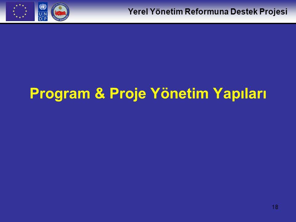 Yerel Yönetim Reformuna Destek Projesi 19 YYR Programı yönetim yapıları (İçişleri Bakanlığı-Avrupa Komisyonu) Program Yönlendirme Komitesi – Stratejik yönlendirme ve karar alma, ilerleme raporlarının tartışılması Program Danışma Komitesi - Program Yöneticisi (PY) YYR Projesi yönetim yapıları İçişleri Bakanlığı Program Yöneticisi + UNDP Teknik Ekip (resmi olmayan düzenli ve geçici toplantılar) YYR Proje Koordinasyon Grubu (PY + İçişleri Bakanlığı yöneticileri + UNDP Uzun Dönemli Uzmanlar + Avrupa Komisyonu Görev Yöneticisi) – Aylık toplantılar Kurumlar arası Çalışma Komiteleri (Bileşenler ve Alt bileşenlere göre) Özel çalışma grupları (faaliyet düzeyinde) İçişleri Bakanlığı/MİGM Proje Uygulama Birimi + UNDP Teknik Ekip