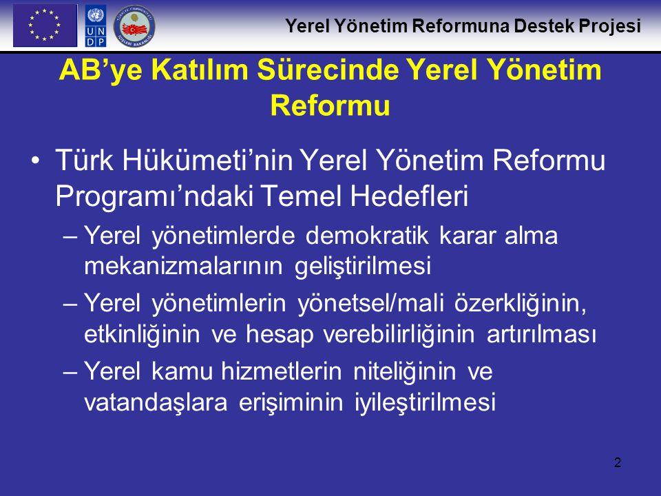 Yerel Yönetim Reformuna Destek Projesi 3 Yerel Yönetim Reformuna Destek Projesi Türkiye'deki Yerel Yönetim Reformu Programı'nın uygulanmasına destek için kararlaştırılan AB fonu: Teknik Destek + Eğitim YYR Programı'nın uygulanması için Teknik Destek: Yerel Yönetim Reformuna Destek Projeesi (YYR Projesi) –Başlangıç Tarihi:Ağustos 2005 –Bitiş Tarihi:Kasım 2007 –Finansman: AB-MEDA –Yürütücü kurum: UNDP-Türkiye –Teknik Destek'ten ana yararlanıcı kurum: İçişleri Bakanlığı – Mahalli İdareler Genel Müdürlüğü –Diğer doğrudan yararlanıcılar: Mahalli İdare Birlikleri, Yerel Yönetimler ve personelleri, TODAİE, İçileri Bakanlığı Eğitim Dairesi Başkanlığı ve diğer Yerel Yönetim eğitim kuruluşları, yerel kamu maliyesi ve yönetimi danışmanları.