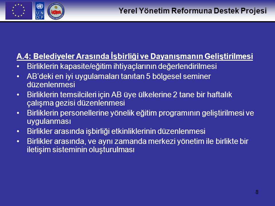 Yerel Yönetim Reformuna Destek Projesi 9 A.5: Belediyeler Arasında Kardeş Kent İlişkilerinin Geliştirilmesi Türkiye'deki ve AB'deki kardeş kent deneyimlerinin değerlendirilmesi ve Türk ve AB belediyeleri arasında kardeş kent ilişkilerinin teşvik edilmesi için bir strateji geliştirilmesi/uygulanması AB destekli programlar çerçevesinde (Sivil Toplum Geliştirme Programı ve diğerleri gibi) kardeş kent olanakları için gerekli bilginin ayrıntılandırılması ve dağıtılması Türk belediyelerinin kardeş kent ilişkilerine girebilmelerine destek verilmesi Kardeş kent ilişkileri üzerine bir kılavuz kitap hazırlanması ve basılması