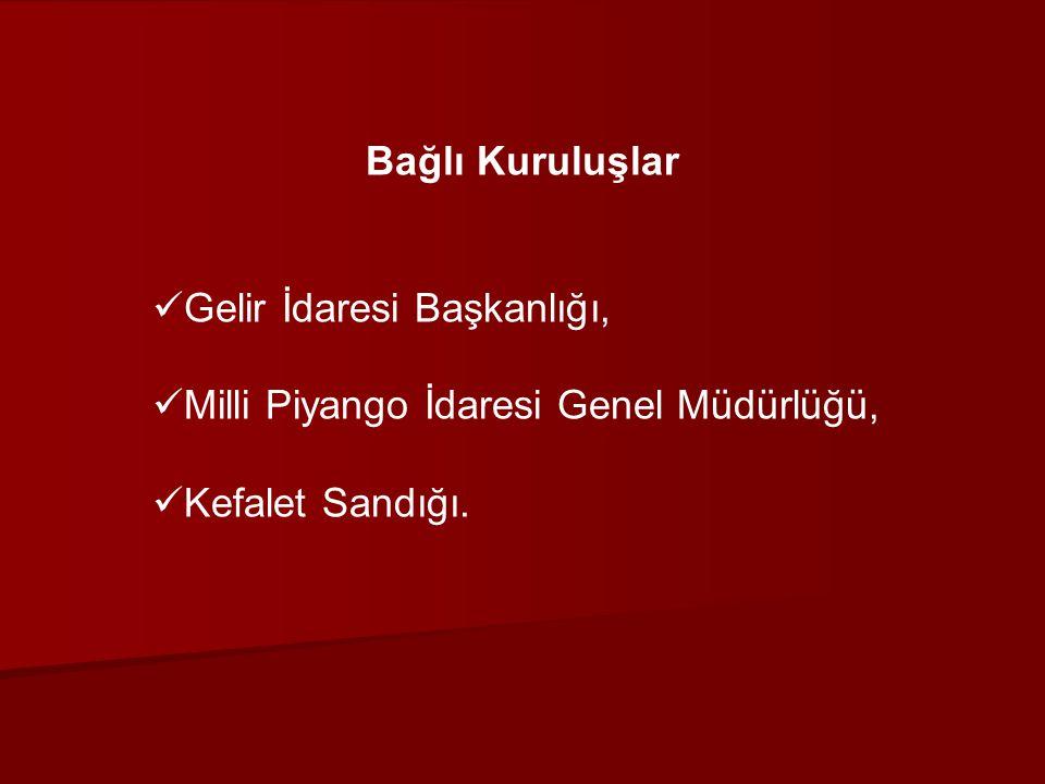 Bağlı Kuruluşlar Gelir İdaresi Başkanlığı, Milli Piyango İdaresi Genel Müdürlüğü, Kefalet Sandığı.
