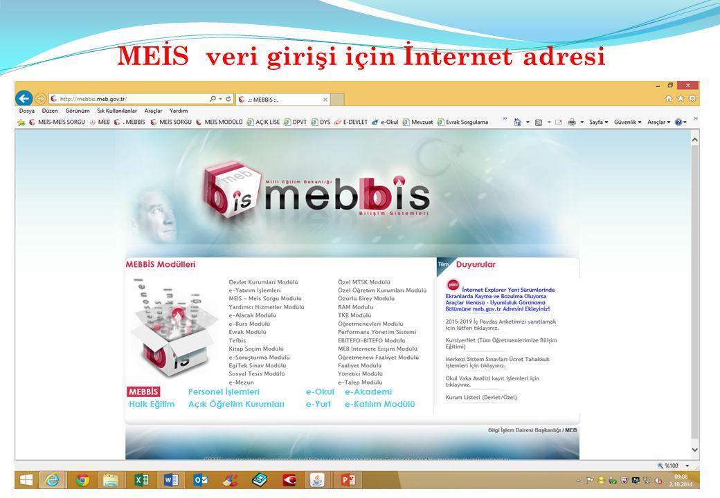 MEİS veri girişi için İnternet adresi