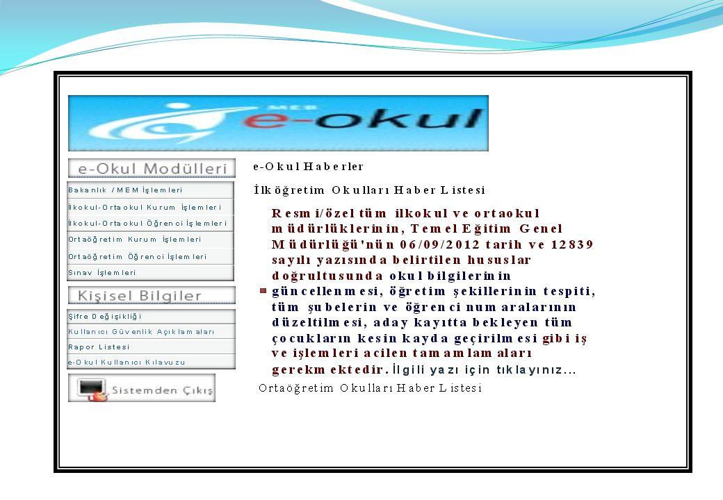 Okul öncesi Kurum İşlemleri, İlkokul-Ortaokul Kurum İşlemleri Ortaöğretim kurum işlemleri den Yandaki ekrana Ulaşılır.