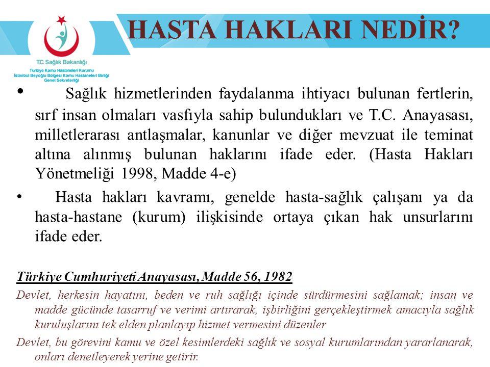 HASTA HAKLARININ TARİHSEL GELİŞİMİ Amerikan Hastaneler Birliğinin 1972 de yayımladığı Hasta Hakları Bildirgesi Dünya Tabipler Birliğinin 1981'de yayımladığı Lizbon Bildirgesi Dünya Sağlık Örgütü Avrupa Bürosunun 1994 yılında yayımladığı Amsterdam Bildirgesi Dünya Tabipler Birliği 1995, Bali Bildirgesi Hasta Haklarına İlişkin Avrupa Statüsü, Roma 2002 Dünya Tabipler Birliği 2005, Santiago Bildirgesi
