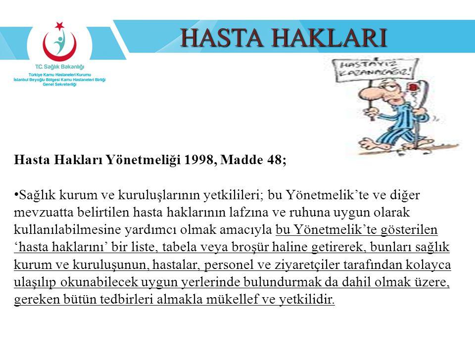 HASTA HAKLARI Hasta Hakları Yönetmeliği 1998, Madde 48; Sağlık kurum ve kuruluşlarının yetkilileri; bu Yönetmelik'te ve diğer mevzuatta belirtilen has
